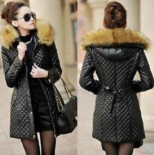 Winter Womens leather fur collar Warm down cotton long jacket hooded coat 2016