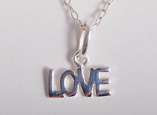 STERLING SILVER LOVE WORD CHARM CHAIN NECKLACE 925