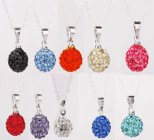 925 STERLING SILVER SHAMBALLA CRYSTAL BALL NECKLACES 8 Colours KP5
