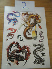 1x SHEET MENS CHINESE DRAGON CELTIC DESIGNS TEMPORARY TATTOOS UKSELLER FREE P&P