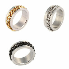Stainless Steel Chain Rotatable Wedding Band Ring Size 11-6 Gold Silver Black