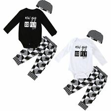 Newborn Infant Baby Boy Girl Romper Tops+Long Pants Hat 3PCS Outfits Set Clothes