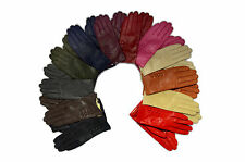 Ladies Soft Real Genuine Leather Fur Lined Gloves in Medium or Large with Button