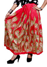 Apparels India Women's Rayon Long Skirt Boho Hippie For Ladies (Free Size)
