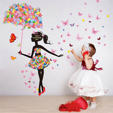 Umbrella Fairy Girl Wall Stickers Child Decal Decorations Flowers Decor Bedroom
