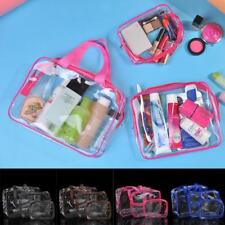 3PCS/SET Clear Zippered Cosmetic Make Up Pouch PVC Transparent Travel Beach Bag