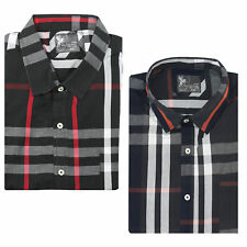 New Mens Big Size Black Checks Cotton Short Sleeve Casual Formal Button Shirt