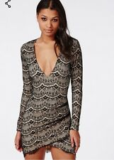Missguided Longsleeve Lace Wrap Bodycon Dress Black New With Tags RRP £35