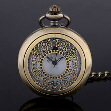 Antique Hollow Flower Floral Carved Mechanical Pendant Steampunk Pocket Watch