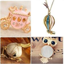Lady Crystal Pumpkin Car Owl Vintage Necklace Charm Pendant Long Chain Gifts