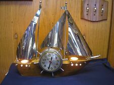 Vintage 1950's Mastercrafters Ship Clock Works Boat Nautical Lights Up