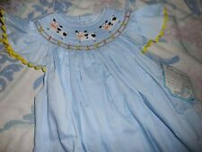 nwt Remember Nguyen blue smocked cow angel wing bishop dress girl 6X,7 or 8
