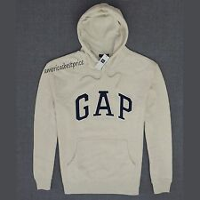 GAP NEW  MENS ARCH LOGO SWEATSHIRT HOODIE,NWT,LIGHT BEIGE,WARM AND COZY,POPOVER,