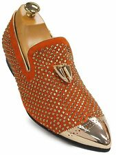 Fiesso Men Orange Suede Gold Tassle Rhinestone Metal Point Toe Loafer Party Shoe