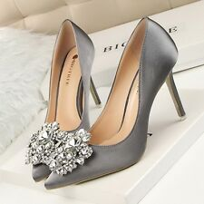 Size 4-8 Satin Rhinestone Buckle Womens Shoes High Heels Pointed-toe Stiletto
