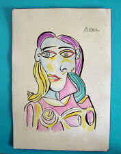 PABLO PICASSO drawing painting on Paper. Signed.