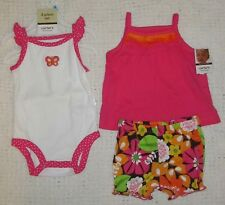 NWT Infant Girls CARTERS 2 Shirts & Shorts Outfit - 3 piece set - 6 months