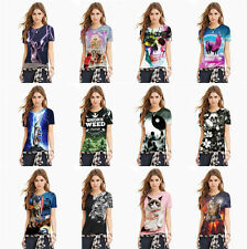 Women Polyester Casual Print T Shirt Short Sleeve Crew Neck Loose Blouse Tops QQ