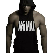 Men Fitness Animal Sleeveless Cotton Coat  Muscle Slim Fit Hoodies Gym Tank Top