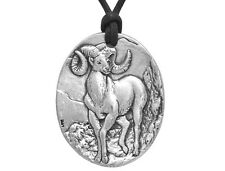 Bighorn Sheep 2 inch Pewter Pendant Necklace on Black Cotton Cord