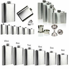 2 6 7 8 10 18 oz Stainless Steel Hip Flask Liquor Whiskey Hunting Bottle Funnel