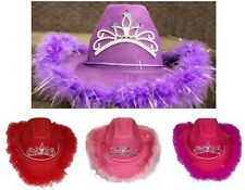 Cow Girl Hats With Feathers & Tiara - Size: Youth 6 Pc Lot  ( ECOWBG64K #)