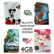 4GB USB FLASH DRIVE MAC PC - Mickey Mouse - Hello Kitty - SpiderMan - Avengers