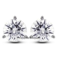 0.65ctw I-SI1 VG Round Natural Diamonds 14KW Gold 3-Prong Martini Earrings 4.3mm