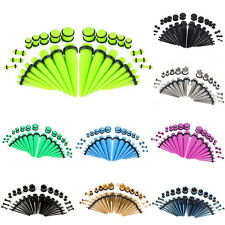Acrylic Tapers Plugs 14G-00G Double O-Rings Ear Gauges Stretching Kit Pick Color