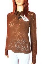 Dolce Gabbana Embroider Party Celeb Lace Sheer Blouse Shirt Top sz 8 10 12 14 16