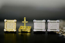 925 Sterling Silver Micro Pave Cz Stud Earrings Screw Back