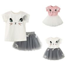 2pcs Toddler Baby Girl Cute Cat Outfits Tops T-shirt+Skirt Dress Kid Clothes Set