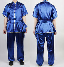 ChangQuan Uniforms Wushu KungFu Blue Uniform Taichi Kung Fu Chinese Silver Trim