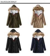 Womens Winter Hooded Warm Military Jacket Fur Lining Thick Parka Coat Outwear
