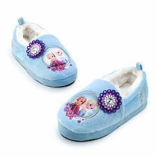 Disney Store Frozen ELSA & ANNA Plush Slippers House Shoes Girls Size 7/8- 2/3