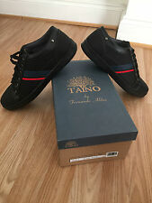 New Mens Black Classic Retro Nubuck Sports Synthetic Leather Trainer Lace 7-12