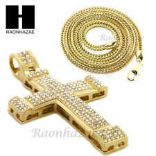 "Men Iced Out Drake Cross Pendant or w/ 4mm 36"" Franco Chain Necklace FS008"