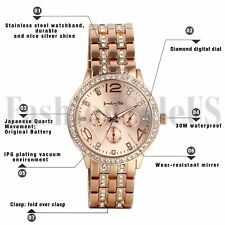 Mens Women's Rose Gold Silver Tone Stainless Steel Decoration Quartz Wrist Watch