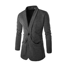 Men Shawl Collar Long Sleeves One-Button Slim Fit Knit Jacket