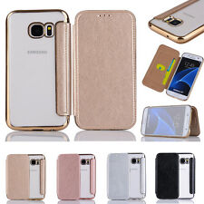 Luxury Card Wallet Flip Clear Hard Back Case Stand Cover For iPhone Samsung
