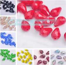 12x8mm Faceted Crystal Findings Czech Glass Loose Spacer Teardrop Beads 15/30pcs