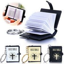 Keychains Cross Mini Religious Christian English Keyrings Bible Jesus HOLY BIBLE
