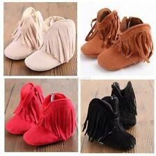 Baby Kids Infant Boy Girl  Warm Tassel Matte PU Leather Boots Soled Shoes