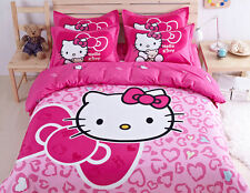 Cute Hello Kitty Bedding Duvet Quilt Cover Bedding Set Twin Full Queen Size Pink