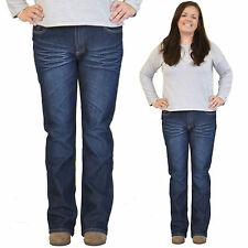 New Ladies Womens Dark Blue Faded Bootcut Flared Stretch Jeans Denim Flares