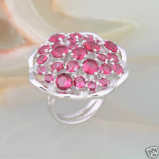 UK Ladies Ruby 10KT Gold Filled Flower Jewellery Wedding Gift Party Ring Sz M-Q