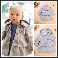 Newborn Infant Baby Girls jacket buttons Outerwear Warm hooded Coat Kids Clothes