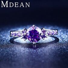 White gold plated Purple Amethyst Jewelry  Rings