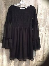 Rancho Estancia Black NeHa Lace Empire Short Dress w/Sheer Bell Sleeves 32134
