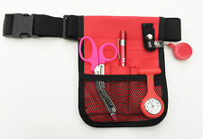 Red nurses kit - pouch + watch + scissors + penlight + retractable ID holder